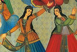 Dancing is historically entwined with many cultures around the world. Here, 17th century Persian women dance in a ceremony in Iran.