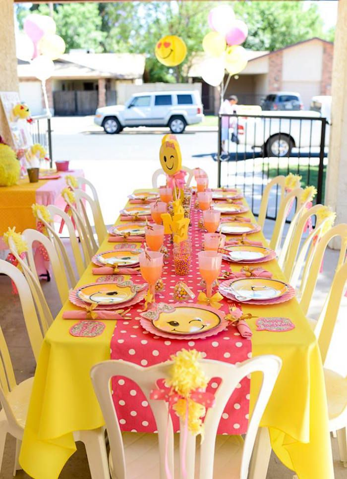 Pink Amp Gold Emoji Birthday Party Emoji Theme Party