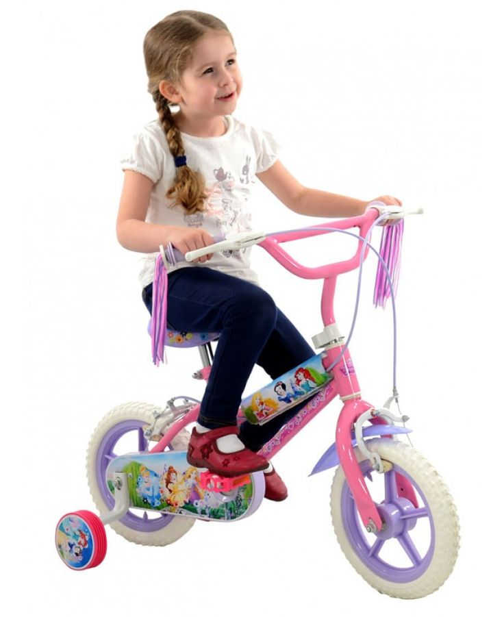 This official Disney Princess bike features pretty Disney Princess themed graphics all over it as well as colourful tassels on the handlebars.
