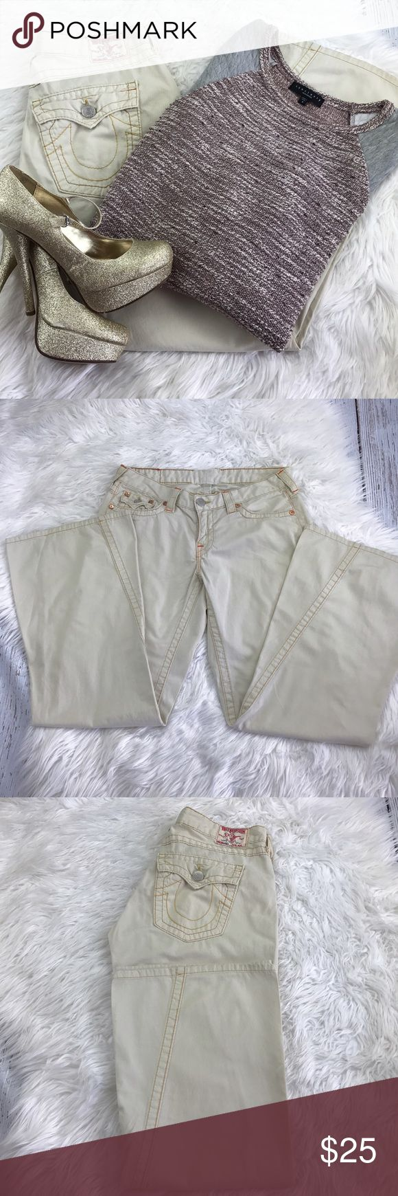 "💕SALE💕True Religion Lightweight Cream Joeys Awesome True Religion Lightweight Cream Joeys 30"" Inseam 8"" Rise 16"" Laying flat across front. Tags have been removed so I'm not sure of size so be sure to check measurements. True Religion Jeans Flare & Wide Leg"