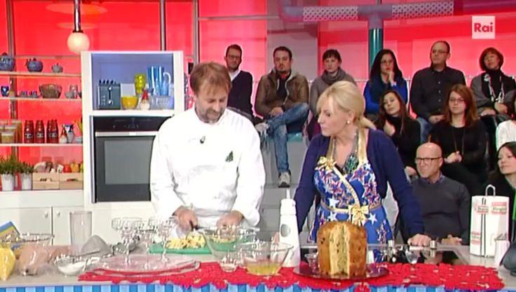 """La ricetta del panettone express di Luca Montersino del 29 dicembre 2016, a """"La prova del cuoco"""". Un modo per usare il classico panettone."""