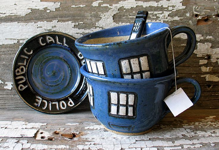 Police Box Tea Cup - Pottery Soup Mug - Handmade -  Doctor Who Tea Cup - Dr. Who Inspired by BRobertsonPottery on Etsy https://www.etsy.com/listing/172413129/police-box-tea-cup-pottery-soup-mug