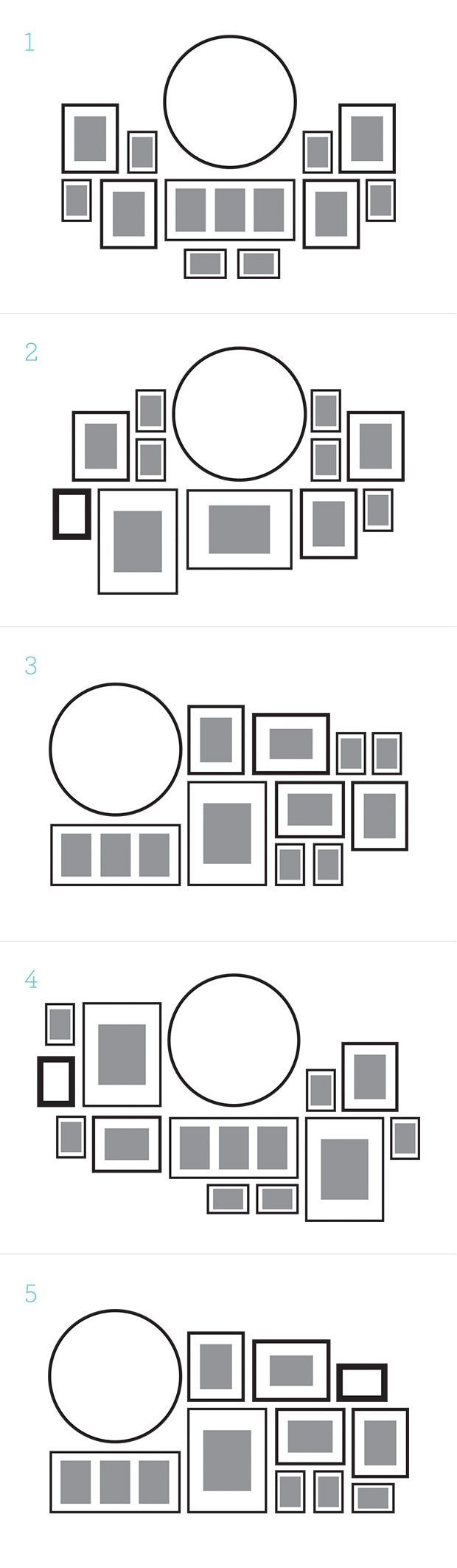 Check out this variety of gallery wall designs that help you organize your photos