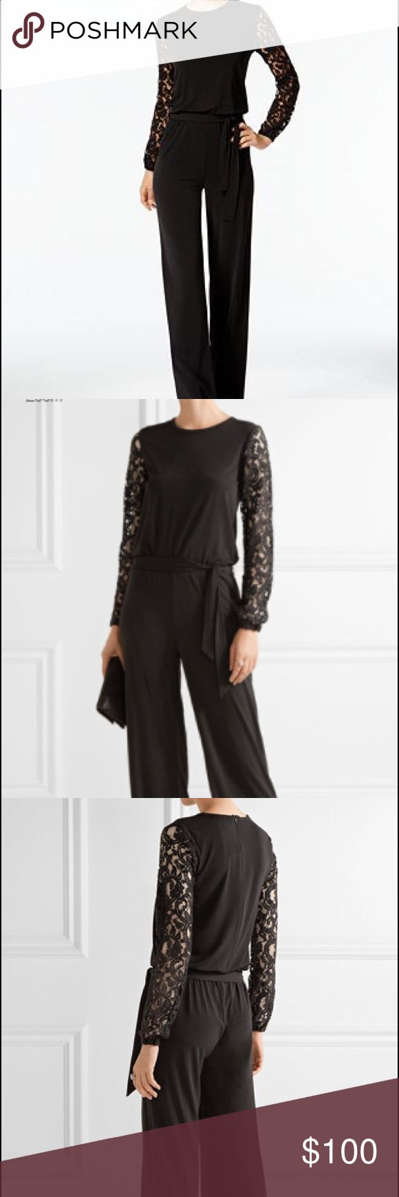 """NWT Black Michael Kors Wide Leg Jumpsuit Brand new with tags.   Lace sleeves, black relaxed fit and wide leg jump suit.  Measures approximately 24"""" armpit to armpit, shoulder to waist band length is 22"""", waist measures 21.5' across flat, waist to bottom hem is 46"""" and pant inseam is 33"""".  The Leg opening at the hem is 13.5"""" across flat.  True to size, very flattering and comfortable.  The material is stretchy.  Zips in the back, no flaws. Michael Kors Pants Jumpsuits & Rompers"""