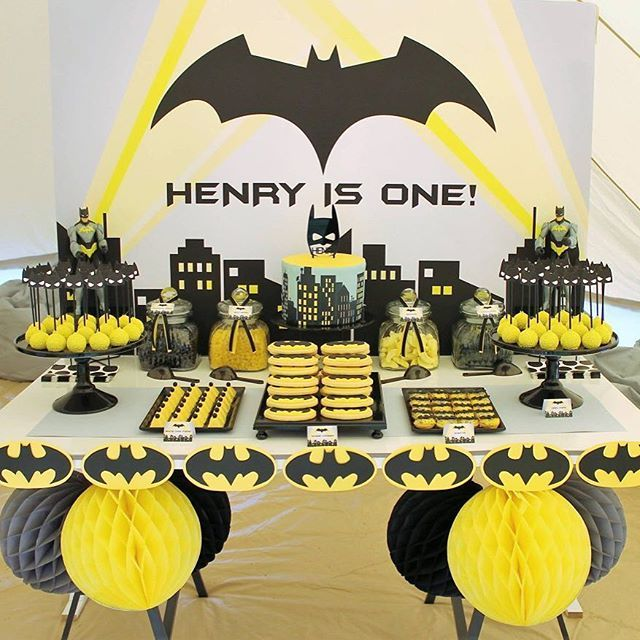 Batman party supplies on the blog today - link in comments !  Fantastic batman party seen here by @the_sweet_cart                                                                                                                                                                                 More