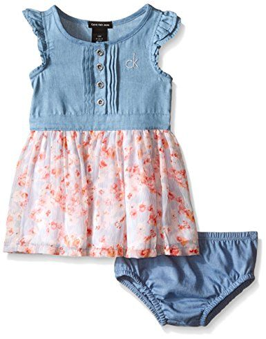 Calvin Klein Baby-Girls Denim Dress with Crinkle Georgette Skirt and Lining, Blue, 18 Months