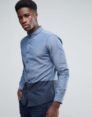 Esprit Grandad Collar Shirt with Contrast Colour Block Hem