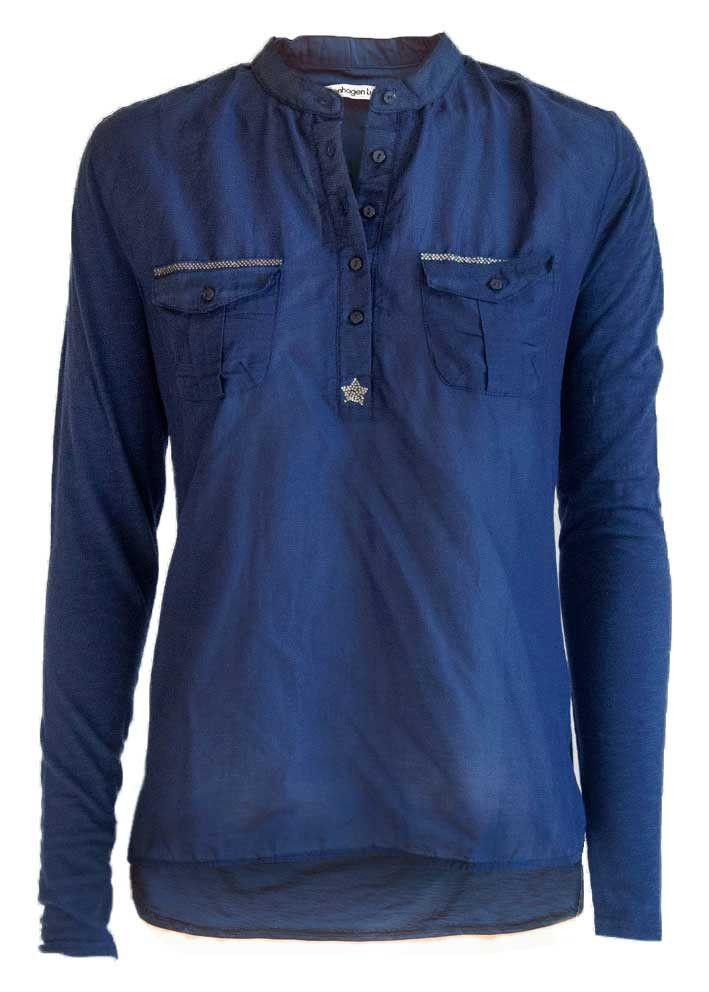 Copenhagen Luxe Skjorte blå 7344 Silk-Modal Shirt dark blue – Acorns
