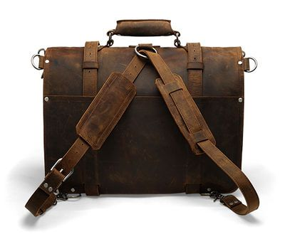 18'' Laptop Messenger Bag - Dark Brown Vintage Style Backpack from Deep Rooted Tree on Storenvy