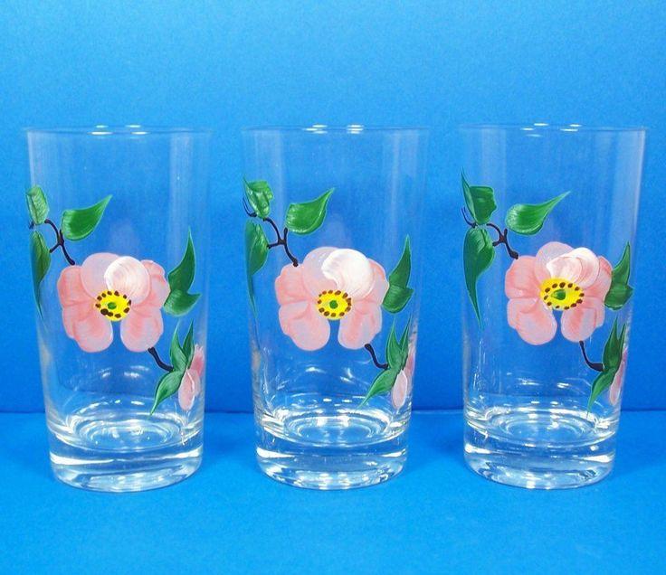 "Franciscan Desert Rose Set of 3 Tumblers 5 1/4"" HP Anchor Hocking Glassware RARE #Franciscan"