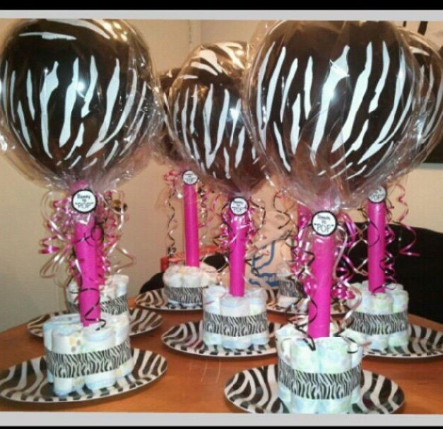 Pink and zebra baby shower centerpieces inexpensive diy