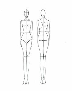 fashion croquis female front and back - Google Search