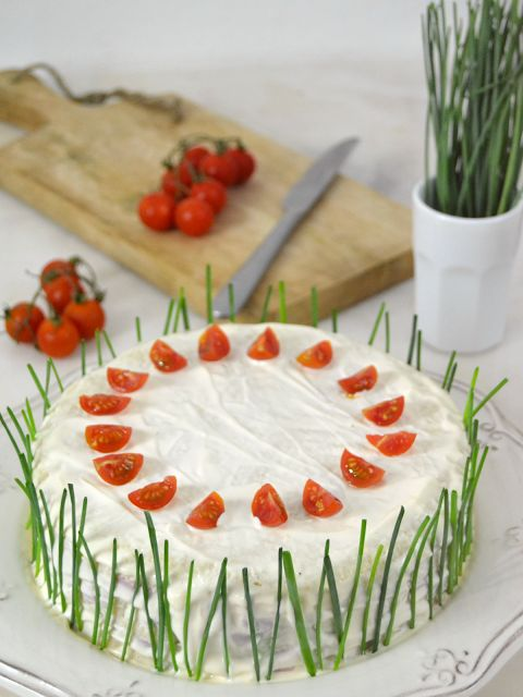 Cuuking! Recetas de cocina: Tarta salada de jamón de York y piña, con pan de m...