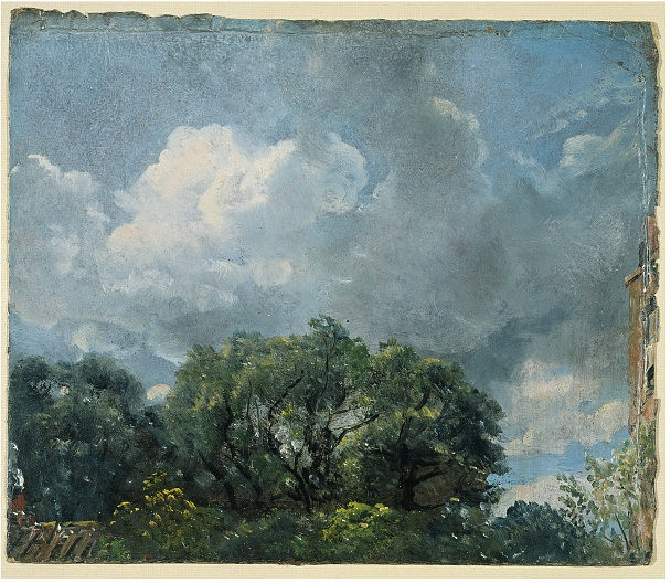 john constable - oil on paper - study of sky and trees (c. 1821)