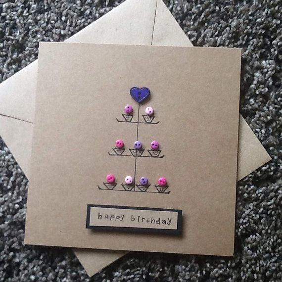 Do you know someone who loves baking or just loves cake then look no further than this Handcrafted card with button embellished cupcakes on a cake stand.Made of kraft card stock with matching envelope and measures 15cm x 15 cm. Would make a lovely birthday ,congratulations, new home