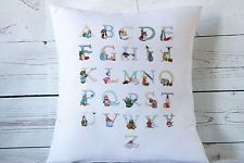 "Beatrix Potter alphabet - 16"" cushion cover Vintage Nursery chic  - UK handmade"