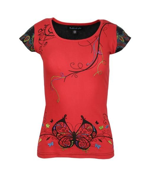 Ladies cap sleeve Tops with Front Butterfly print and back floral print