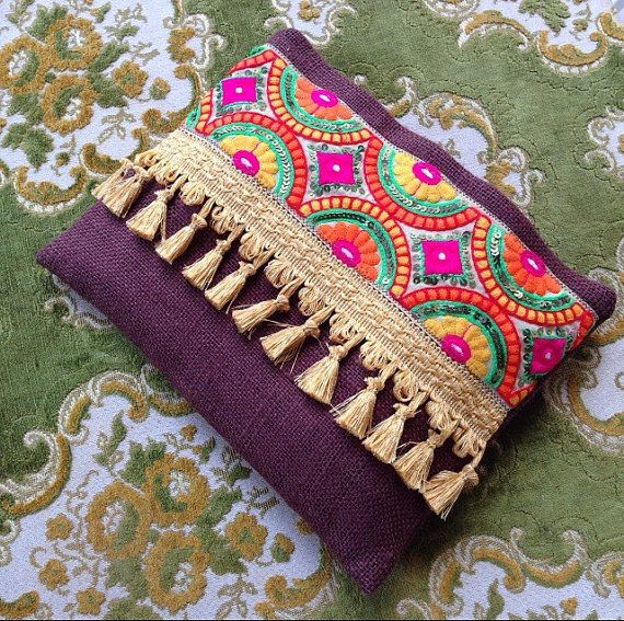 Brown Ethnic Clutch, Brown Jute Handmade Handbag, Colourful Silk Ribbon, Tassel…