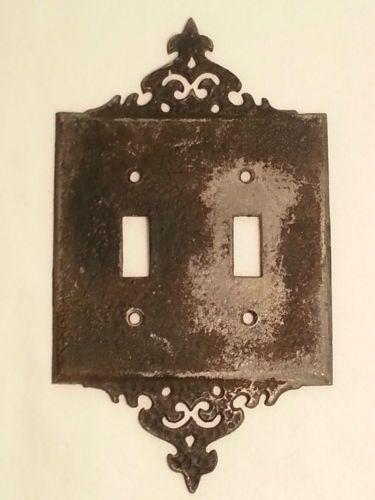 vintage wilton black heavy metal double light switch cover ornate design ebay
