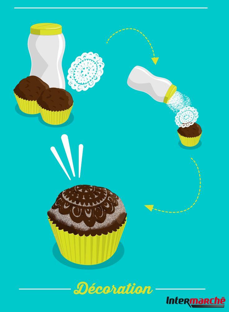 #Astuce : décorer des cupcakes. 1) Récupérez un morceau de dentelle avec des motifs.  2) Munissez-vous de sucre glace.  3) Versez le sucre à travers la dentelle au dessus de votre gâteau pour créer des motifs !