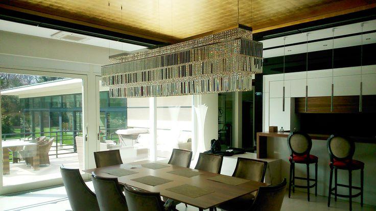 Beautiful chandelier in dining room made for special order. #chandelier #crystal #lighting #interior #wystrójwnętrz