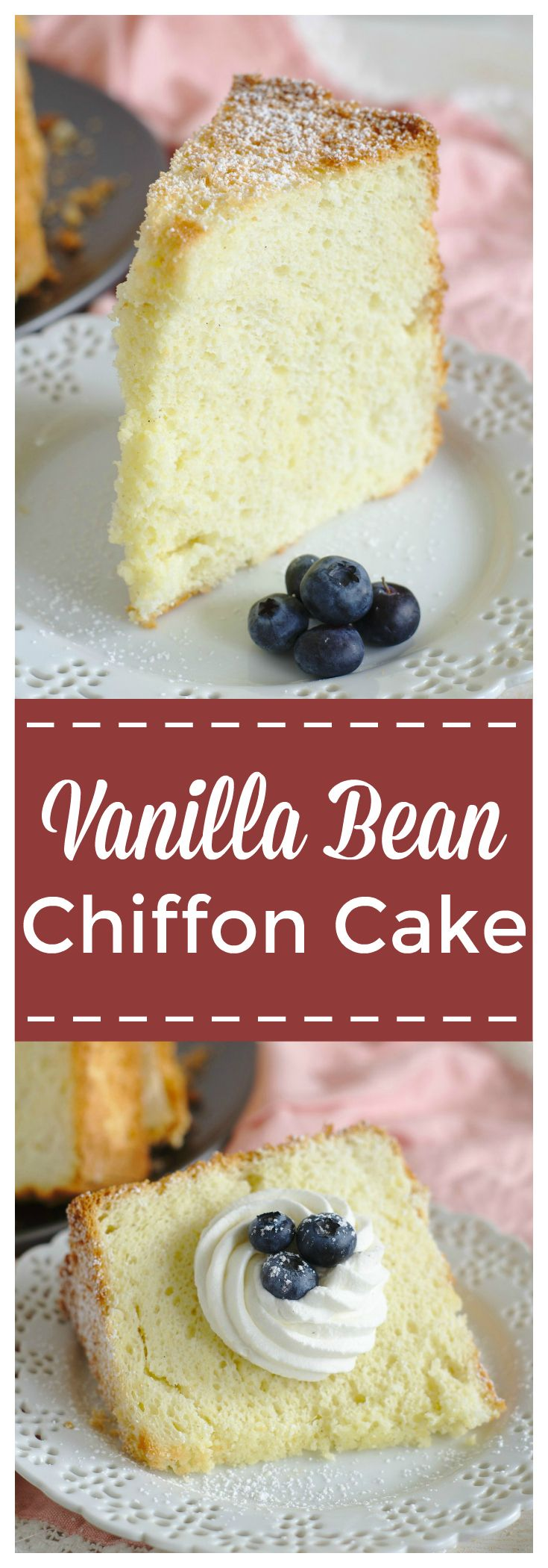 Vanilla Bean Chiffon Cake – A light and fluffy cake that melts in your mouth! This mile high cake is made with vanilla beans and topped with vanilla bean whipped cream! Vanilla Bean Chiffon Cake is perfect for birthdays or a simple, yet elegant dessert! #cake #dessert #vanilla #chiffoncake
