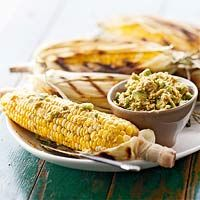 Marinated Grilled Corn with Chili-Avocado Butter: Spicy Side, Marines Grilled, Side Dishes, Butter Recipes, Chilis Avocado Butter, Side Recipes, Perfect Sweet, Sweet Corn, Grilled Corn