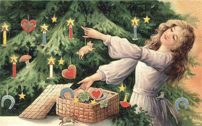 Предновогоднее. Старинные рождественские открытки.: mari_asai