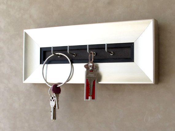 Silver keyholder, Framed Keyhook, Shiny Metal Keyhook, Silver and Black, Silver Framed Keyholder, Metal Look Keyhook, Jewelry Holder,