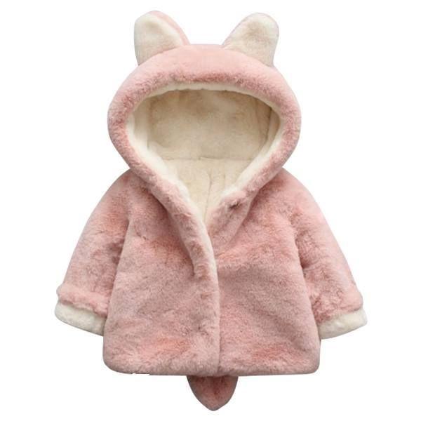 Kids Girl Faux Fur Fleece Cute Bunny Ears Hooded Coat Winter Warm Trench Outwear