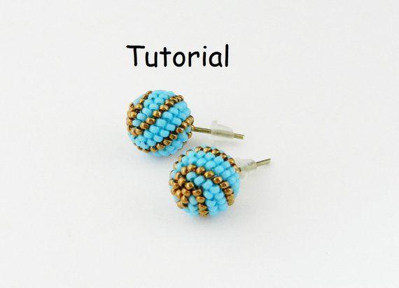 Tutorial Beaded Stud Earrings Pdf File Instant Download Beaded