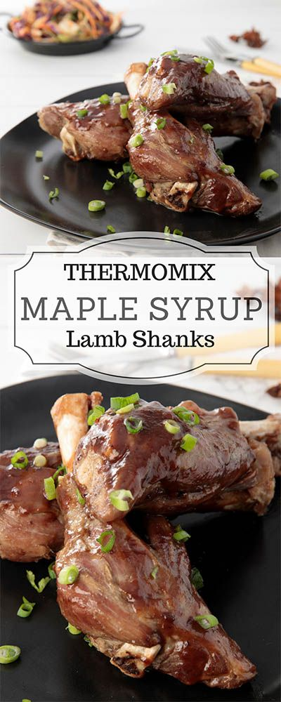 Thermomix Slow Cooked Maple Syrup Lamb Shanks are a favourite winter recipe. The Varoma makes the perfect melt in your mouth lamb shanks in just 2 hours! #Thermomix #lambshank #Varoma via @thermokitchen