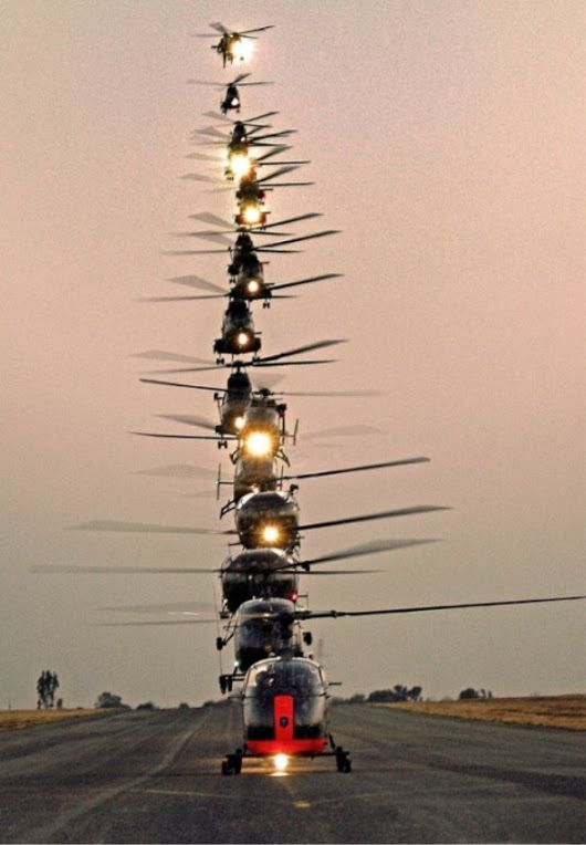 Stacked helicopters at 17 Squadron AFB, Swartkop, South Africa