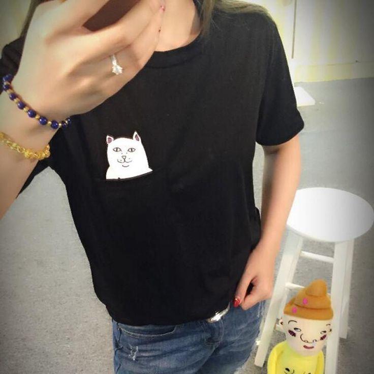 S-4XL Plus Size 2016 Women T Shirt Cat Print Pockets Short Sleeve Cotton T-shirts Women Poleras De Mujer Camisetas  #outfitoftheday #hair #jennifiers #fashion #stylish #cute #purse #beautiful #styles #jewelry #makeup #style #outfit #beauty #model