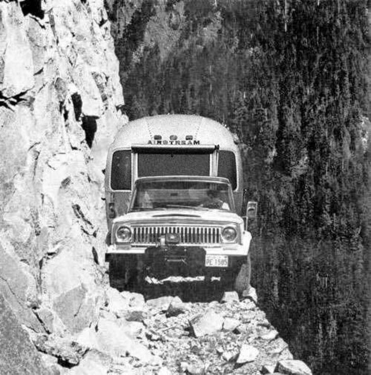 hotrodzandpinups:  Balls   Airstream trailer and Jeep on a trail. A trail with a rather precipitous drop