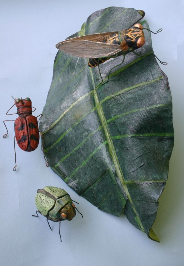 """ANDREA URAVITCH LEAF AND INSECTS  Wonderflex, handmade paper, clay, paper, fabric, wire  23"""" x 15"""" x 10"""""""