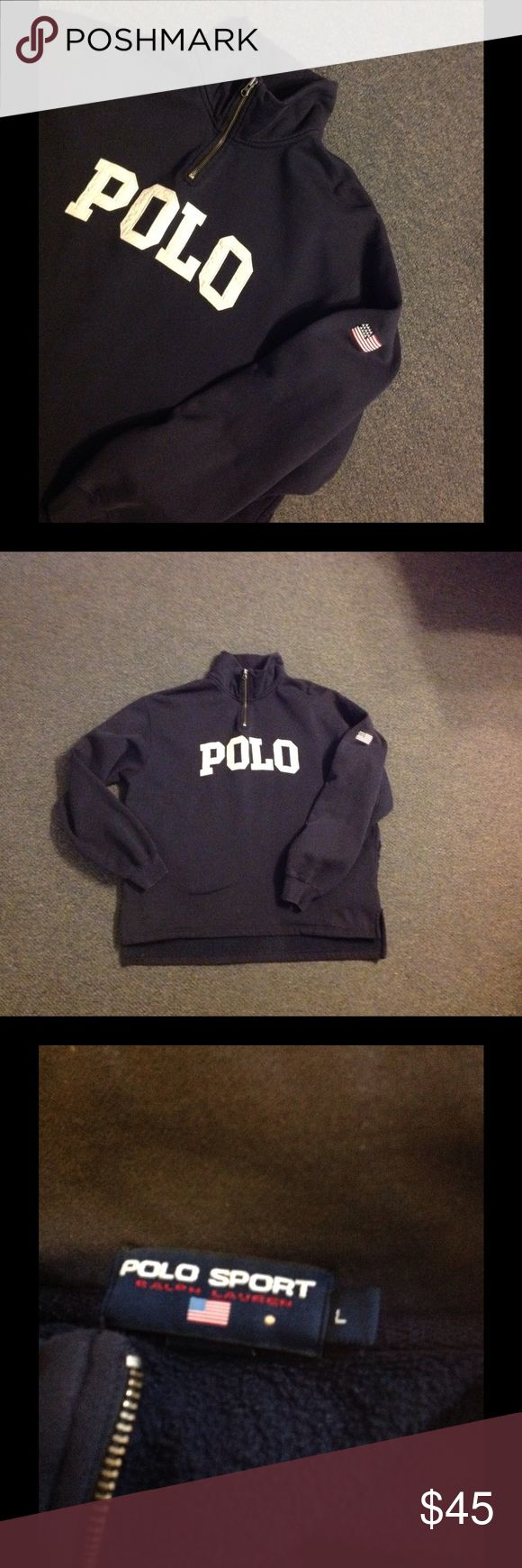 Vintage Polo Sport 1/4 Zip Sweatshirt Jacket L Very nice vintage RL Polo Sport sweatshirt. Spells POLO with a flag on the sleeve. Has side pockets towards the bottom. This is in pretty good shape. There are a couple light marks that I tried to get in the last picture. Size Large. Polo by Ralph Lauren Shirts Sweatshirts & Hoodies