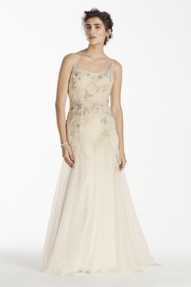 Extra length lace melissa sweet net spaghetti strap for Melissa sweet short wedding dress