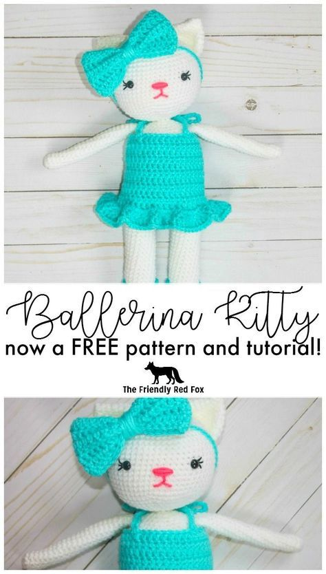 FREE crochet kitty pattern! All dolled up in a sweet ballerina outfit, she stands just under 15 inches!