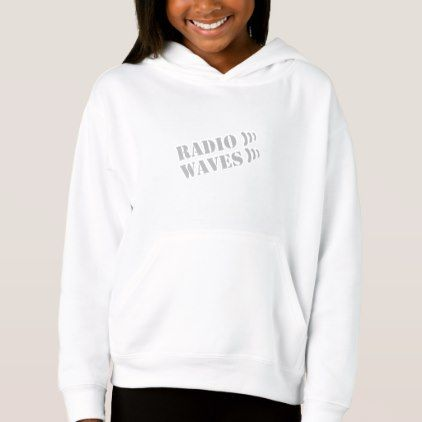 RADIO WAVES WHITE PULLOVER HOODIE - girl gifts special unique diy gift idea