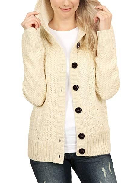 Sidefeel Women Hooded Knit Cardigans Button Cable Sweater Coat at Amazon  Women s Clothing store  811f8f9cd