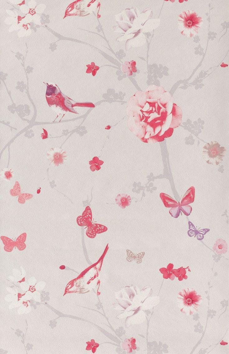 Branche oiseau rose - Papier peint Floral Dance de Lutèce