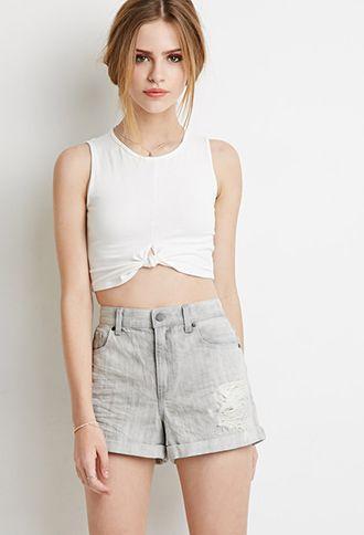 Distressed Denim Shorts   Forever 21 - 2000184410