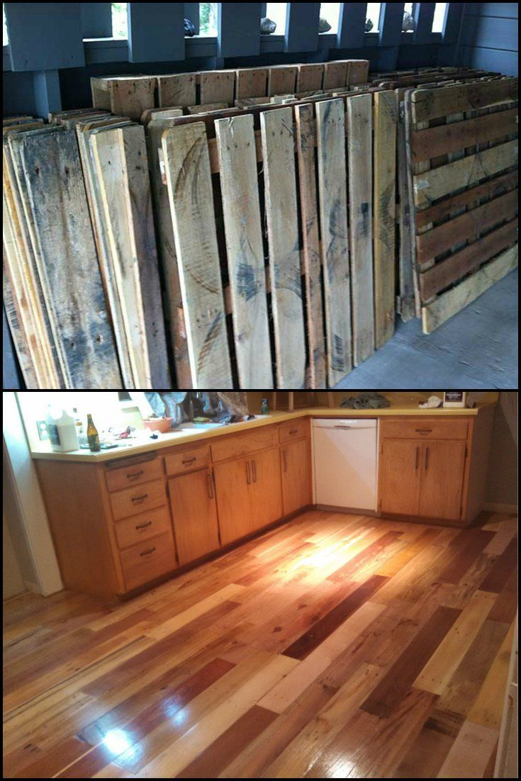 Wooden transport pallets have become increasingly popular for diy - Pallet Wood Kitchen Floor Love The Idea Of Timber Flooring But Don T Have The Budget Then