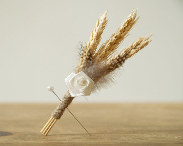 wheat boutonniere | Wheat Boutonniere, Natural Groomsman Lapel Pin, Wedding Butonhole ...