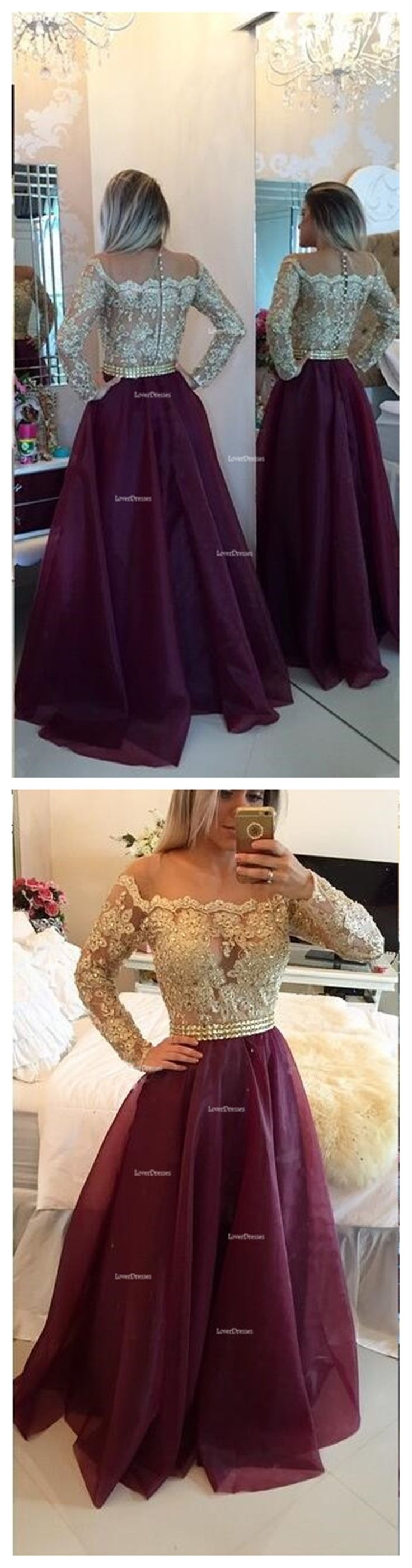Long sleeve prom dress, A line prom dresses, Gold prom dresses, prom dresses 2016, cheap prom dress, 15128