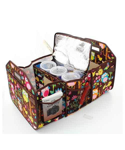 Owl Design Auto Trunk Utility Collapsible Storage Tote With Insulated  Cooler Bag   Monogrammed FREE