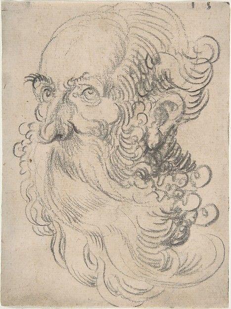 Hans Baldung Grien / Also attributed to Sebald Beham – Head of a Bearded Old Man, 1500–1545, Black chalk