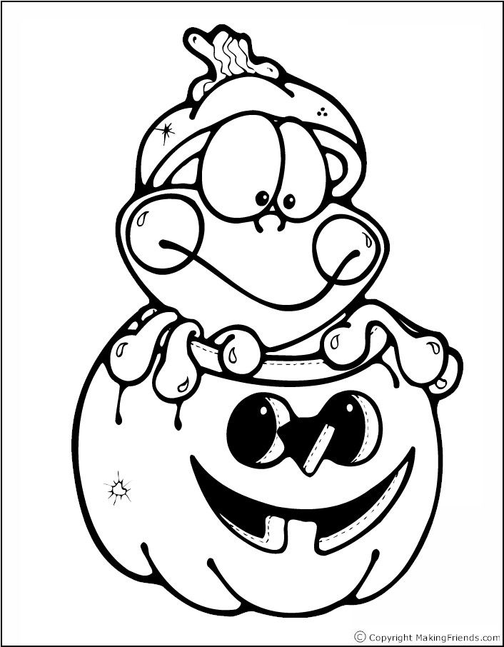 halloween frog coloring page