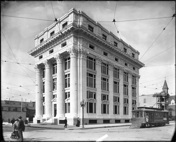 Exterior view of the Pacific Mutual Life Insurance Building, Olive Street and Sixth Street, Los Angeles, ca.1909 (CHS-5546)    Wikimedia Commons image page Description  Description    ''Exterior view of the Pacific Mutual Life Insurance Building, Olive Street and Sixth Street, Los Angeles, ca.1909   Photograph of the exterior view of the Pacific Mutual Life Insurance Building, on the corner of Olive Street and Sixth Street, Los Angeles, ca.1909. The five-story Romanesq